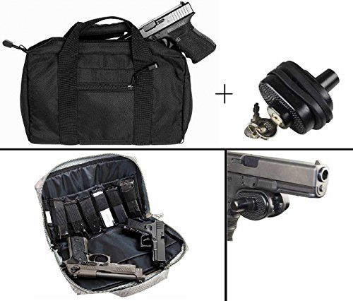 Ultimate Arms Gear Stealth Black Springfield Armory XD XDS XDM 9mm .22 .357 Sig 38 Special .40 S&W .45 ACP GAP Discreet Dual Tactical Hand Gun Handgun Revolver Case Bag Rag Holds 2 Pistols with 6 Interior Double Stack Single Mag Magazine Pockets and Carry by Ultimate Arms Gear