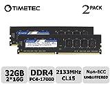 Timetec Hynix IC 32GB KIT(2x16GB) DDR4 2133MHz PC4-17000 Non ECC Unbuffered 1.2V CL15 2Rx8 Dual Rank 288 Pin UDIMM Desktop PC Computer Memory Ram Module Upgrade (32GB KIT (2x16GB))