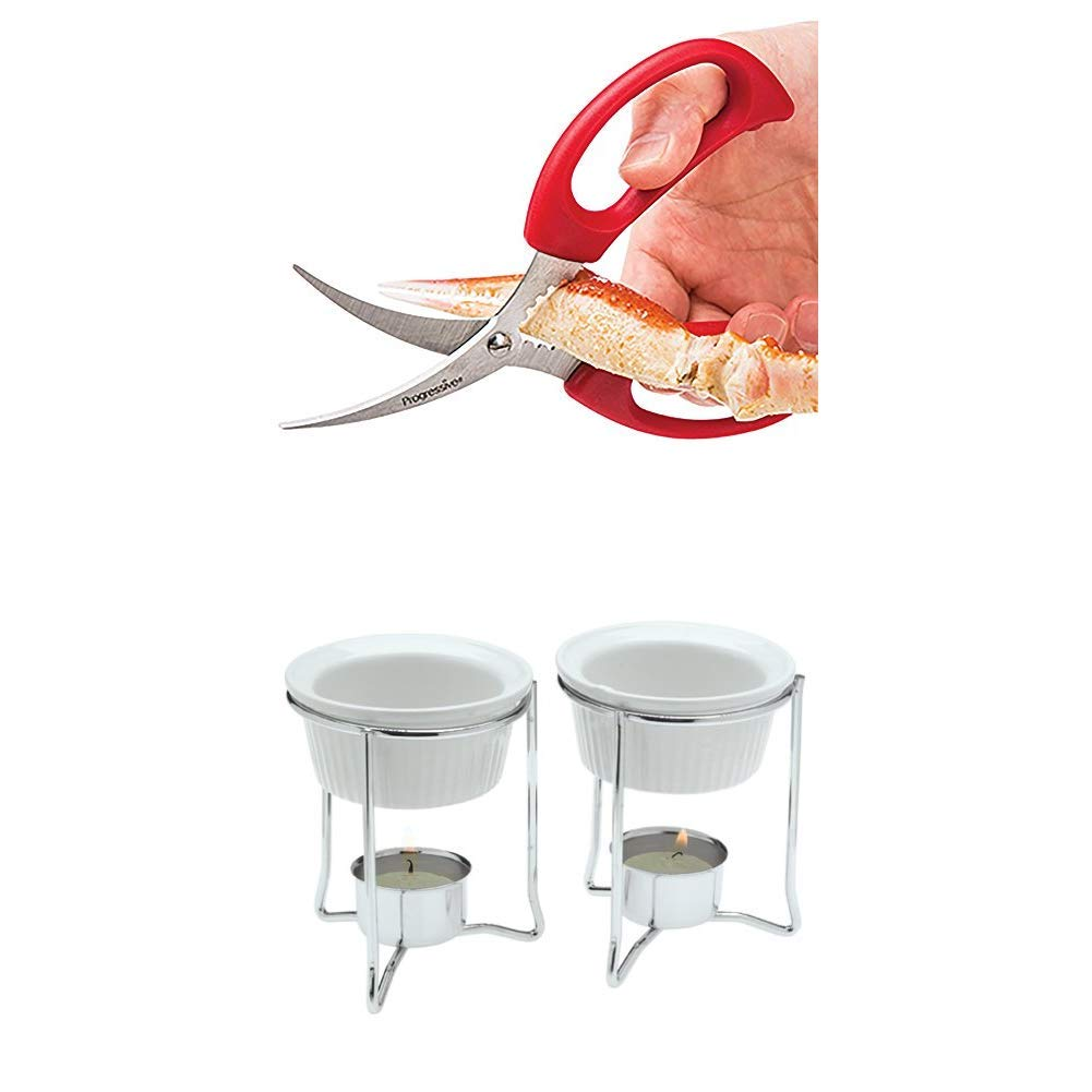 Prepworks by Progressive Seafood Dinner Set Includes: 4 Seafood Scissors and 4 Ceramic Butter Warmers, King Crab, Lobster, Shellfish, Crawfish, Prawns, Crab Leg Crackers