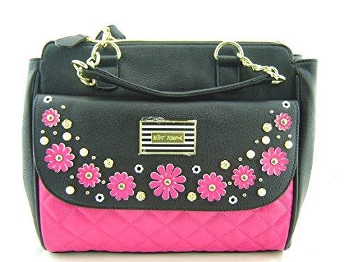 Betsey Johnson In Bloom Satchel Handbag Fushia Black