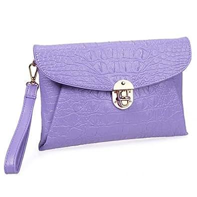 BMC Womens Lavender Purple Faux Crocodile Skin Textured PU Leather Envelope Flap Fashion Clutch Handbag