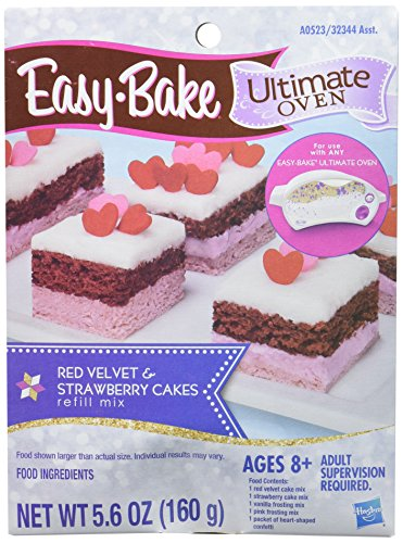 Easy-Bake Ultimate Oven Red Velvet and Strawberry Cakes Refill Pack (Ez Bake Mixes)