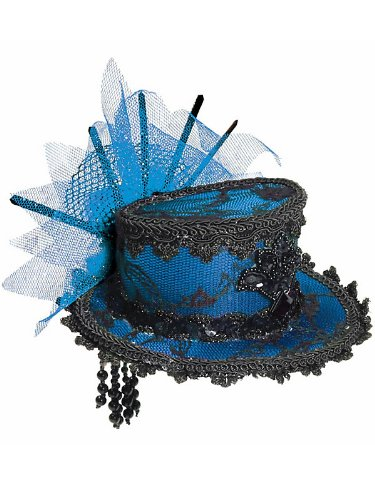 Costumes Top Hats For Sale (Mini Blue Lace Top Hat)