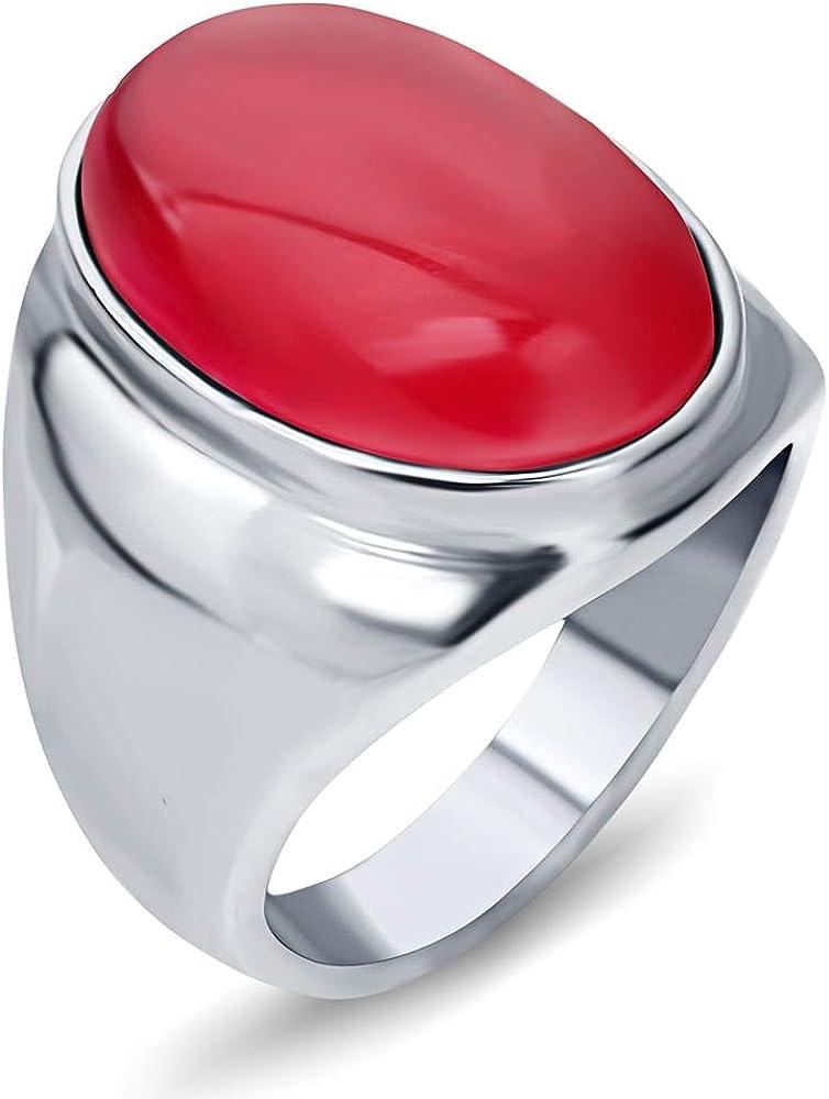 BQZB Ring NIBA Luxury Big Red/White/Coffee Opal Ring Llegada para Las Mujeres/Los Hombres de Acero Inoxidable Anillos Joyería de Moda