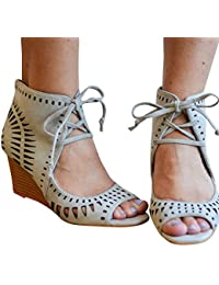 Womens Wedge Sandals Cut Out Lace up Gladiator Caged Wedges