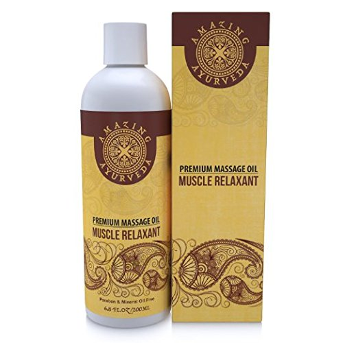 Amazing Ayurveda Premium Massage Oil - Muscle Relaxant, 6.8 Fl.oz - Enriched with the Goodness of Black Pepper Oil, Sage Oil and Cinnamon Bark Oil