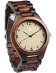 Treehut Mens Rosewood and Ebony Wooden Watch with All Wood Strap Quartz Anal.
