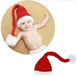 Hot Sale! Hand-Knitted Hat Festive Christmas Hat Winter Hats Baby Boys Girls Cute Beanie (Red)