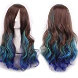 WeeH Costume Women Wigs Long Hair Cosplay Wig Spiral Curly Wavy Wigs for Wedding Party, Brown Blue