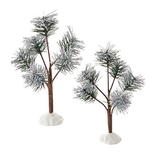 8 Inch Pine Trees - Department 56 Village Silver Sparkle Pine Trees, 8 inch (Set of 2)