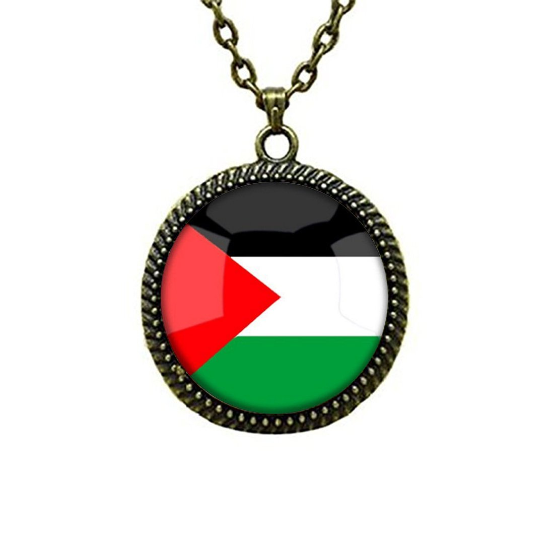Glass Cabochon Pendant Necklace The Hashemite Kingdom of Jordan National Flag Vintage Chain Circle Bronze Bead Choker Healing Amulet