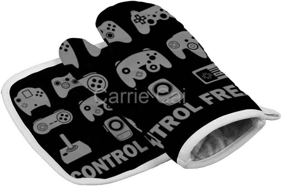 Funny Control Freak Video Gamer Oven Gloves Microwave Gloves Barbecue Gloves Kitchen Cooking Bake Heat Resistant Gloves Combination