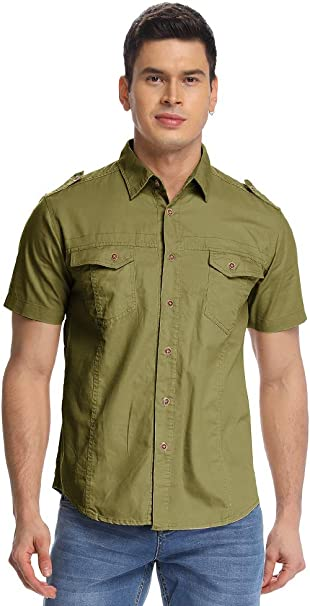 Esast Men Classic Military Stylish Button Front Slim Fit Short Sleeve Cotton Shirts