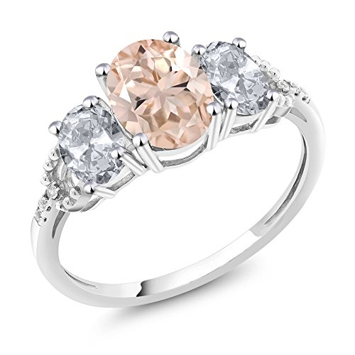 - Gem Stone King 10K White Gold Diamond Accent 3-Stone Engagement Ring set with 2.05 Ct Oval Peach Morganite White Topaz (Size 8)
