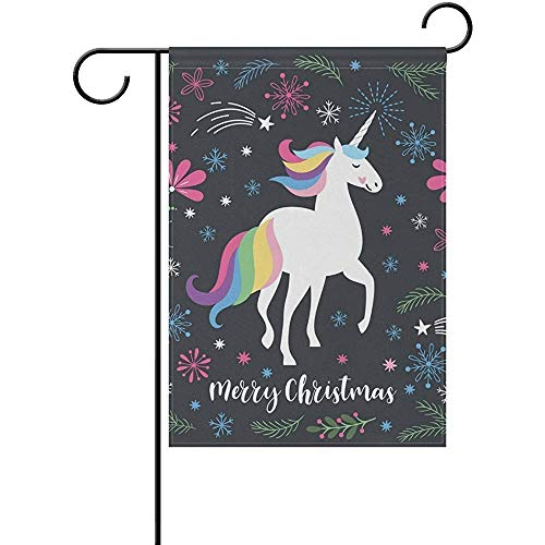 Personalized Christmas Unicorn with Leaves Garden Flag Banner 12x18 in Polyester for Home Yard Garden Decor Holiday Seasonal Flag Banner