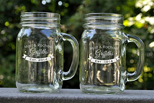 (Personalized Mason Jar Mug with a Banner Monogram Glass Mug Sold Individually)
