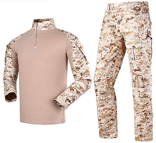 LANBAOSI Men's Tactical Combat Shirt and Pants Set Long Sleeve Multicam Woodland BDU Hunting Military Uniform 1/4 Zip (Digital Camo Gear)