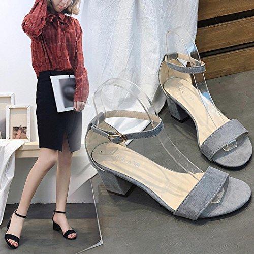 Femmes Plastique Sandales Beautyjourney Talon Tongs Open Femme Drole Bloc Cheville Partie Sandales Toe Dames Mid Gris Espadrilles Sandales Shoes tIIqR0