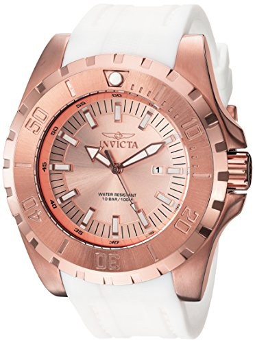 Invicta Men's Pro Diver Stainless Steel Quartz Watch with Polyurethane Strap, White, 26 (Model: 23741) (Watch Mens Invicta Gold And White)