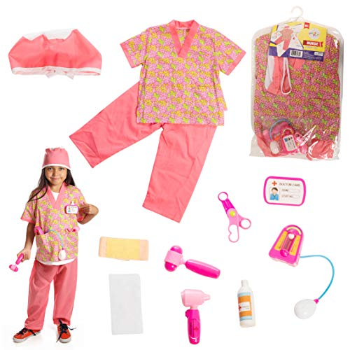 Dress 2 Play Nurse Pretend Costume, Dress up Set with Accessories; 6 Pc Set]()