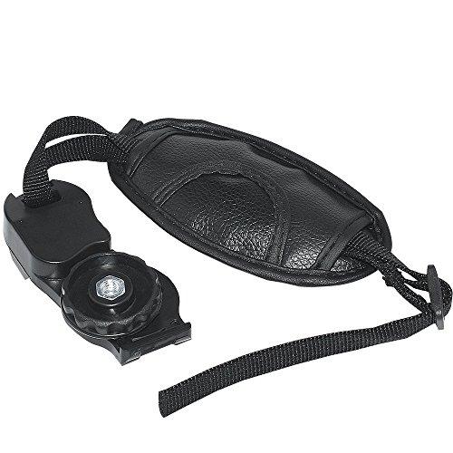 Olympus Black Leather - Leather Hand Grip Strap - Portable Adjustable Camera Wrist Grip with Black Padded Compatible DSLR SLR Camera Fit for Canon Nikon Sony Pentax Minolta Panasonic Olympus Kodak