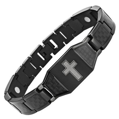 Willis Judd New Mens Black Titanium Magnetic Christian Cross Bracelet with Black Carbon Fiber Insets in Black Velvet Gift Box + Free Link Removal Tool ()