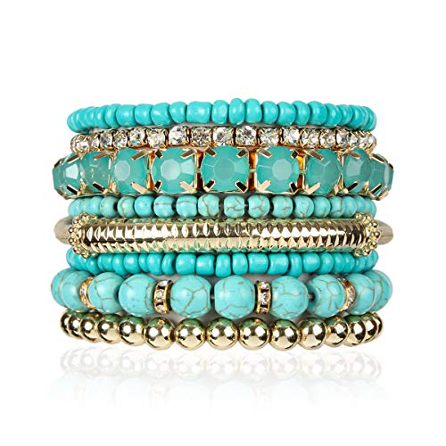 RIAH FASHION Multi Color Stretch Beaded Stackable Bracelets - Layering Bead Strand Statement Bangles (Natural Stone - Turquoise, ()