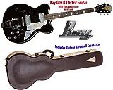 Kay Reissue K775VBK Jazz II Electric Guitar with Bigsby Tremolo- Black (Refurbished)