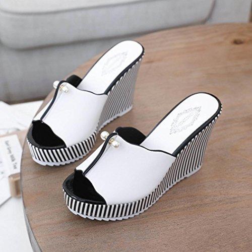 De 2 Talon Air Haut Bijoux Compensées Coupe Bling Bout Sandales Pantoufle Ouvert Chaussures Blanc Spartiates Femmes En Dames 7 Taille Clouté Plateforme Lolittas Rembourrées Large Ornée Blanc Plein qwPBv4Yx0