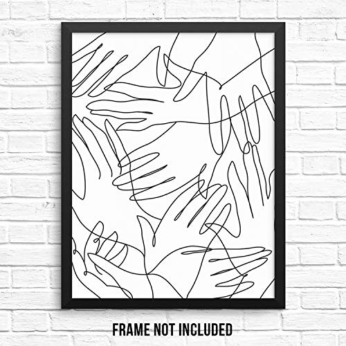 Minimalist Black and White Hands Pattern Wall Decor Art Print Poster - 11
