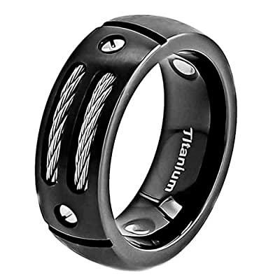 8mm Men's Black Titanium Ring Wedding Band with Stainless Steel Cables and Screw Design Wedding Ring