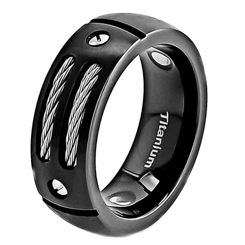 Cable Titanium Ring (FlameReflection 8mm Men Black Silver Titanium Wedding Band with Stainless Steel Cables and Screw Design Size 11.5 SPJ)