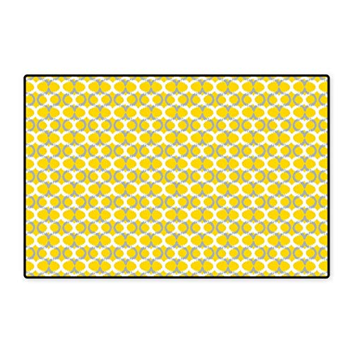 """Geometric Floor Mat for Kids Ikat Ogee Pattern Classical Trellis Vintage Abstract Symmetrical Graphic Floor Mat Pattern 32""""x48"""" Yellow Grey White"""