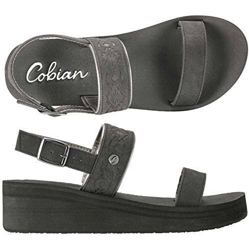 Cobian Women's Sedona Wedge Sandals, Black Faux Leather, EVA, Rubber, 7 M