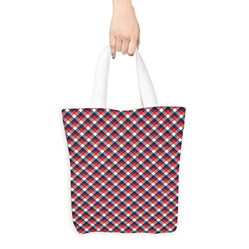 Plaid Tote Bag Checkered Gingham with Old Fashioned English Country Striped Squares Handy 16.5