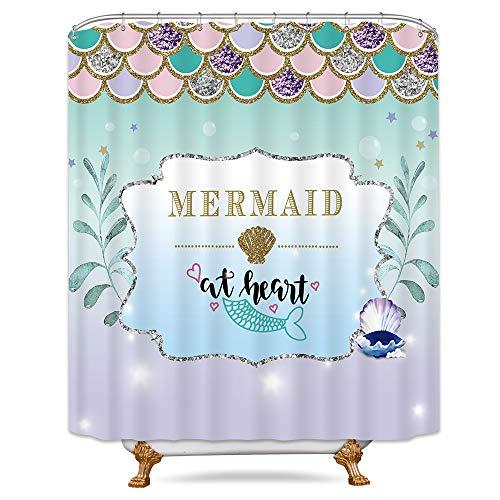 Riyidecor Mermaid Scales Shower Curtain Fishscales Glare Ocean Sea Purple Aqua Teal Princess Decor Fabric Bathroom Set Polyester Waterproof 72x72 Inch 12-pack Plastic Hooks