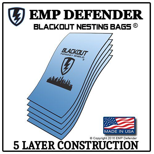 FARADAY CAGE EMP ESD BAGS 5 PC VARIETY SIZE PREPPER KIT BY BLACKOUT