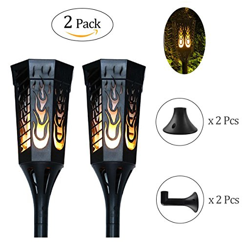 Ideapro Solar Lights, [Upgraded 2018] Torch 96 LED Solar Powered Flickering Flames Landscape Decoration Lighting Multipurpose Outdoor and Indoor for Wall Mounted Garden Patio Yard Desk Lamp (2 Pack)