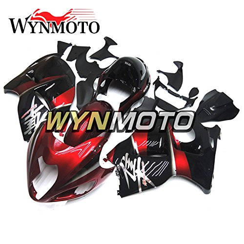 WYNMOTO パール赤と黒の外装パーツセット適合フィットスズキ鈴木 GSXR1300 GSX-R 1300 1997-2007 年フェアキットカバー   B077GPM7Z2