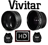 2-Pcs Hi Def Telephoto & Wide Angle Lens Set For Canon VIXIA HF R80 R82 R800