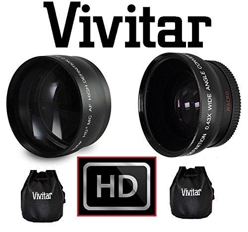2-Pcs Hi Def Telephoto & Wide Angle Lens Set For Canon VIXIA HF R80 R82 R800 -vivitar