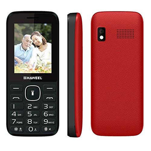 "Haweel X1 2G Cellphones, 2.4"" Screen GSM Unlocked Dual SIM Standby English Keyboard with Flashlight Super Big Speaker Camera FM Radio TF Card Mobile Phones for Kids Senior Elderly (Red)"