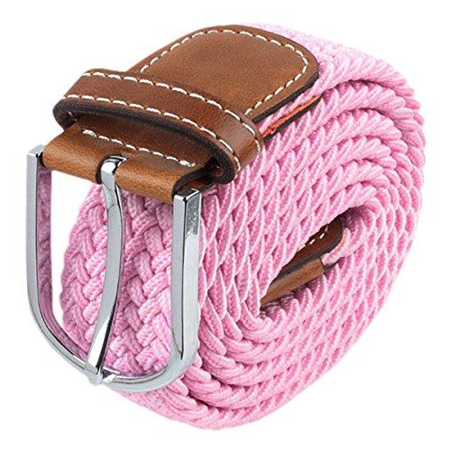 SUNYIK Mens Casual Braided Webbing Elastic Fabric Pu Leather Buckle Belt (Pink Leather Belt Strap)