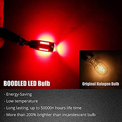 Boodled Newest 9~30V 194 LED Red Bulbs 460Lumens 2.3watts Super Bright No-Polarity LED Bulb For T10 168 W5W Width Warning Turn Signal Dome Map Plate Sied marker Lights. (2-Pack).: Automotive