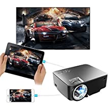 "Synchronize Smart phone Screen Projector,2017 updated 170"" 1500 Lumens Portable Multimedia Video LED Projector for iPhone IOS Android Support Full HD 1080P HDMI VGA AV USB Input Black"