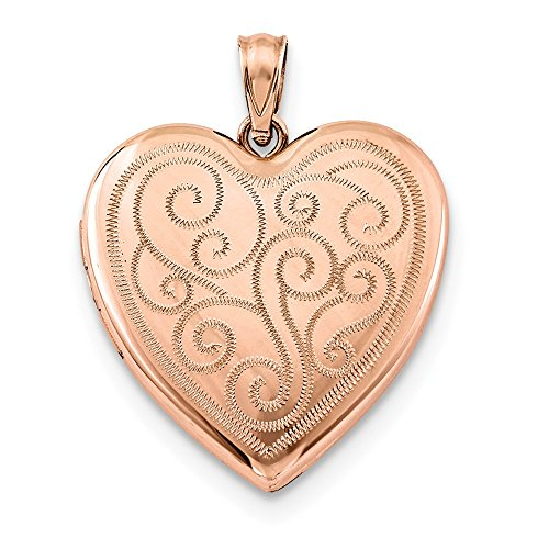 Jewelryweb 925 Sterling Silver Rose Gold-Flashed Swirl Design Heart Locket Necklace (24mm x 30mm)