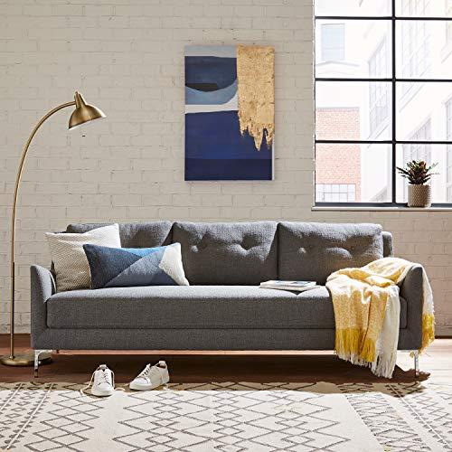 "Rivet Abel Modern Contemporary Sofa, 81""W, Charcoal"