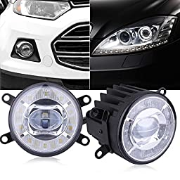 Excelvan GZ-23 DOT/SAE Projector Fog Lamps Driving Light with White Halo Angel Eyes Rings for Cars (12V-24V, 500LM, 6500K)