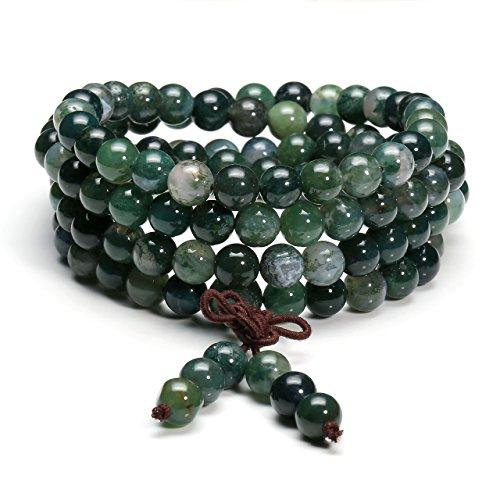 Jovivi 6mm 8mm Tibetan Buddhist Natural Moss Agate Stone Healing Gemstone 108 Mala Prayer Beads Stretch Bracelet Necklace