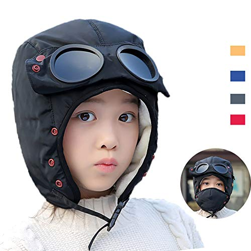 Winter Windproof Trooper Trapper Hat for Kids, Toddler Boy Girls Snow Ski Aviator Earflaps Cap with Goggles, Fleece Lined, Black ()
